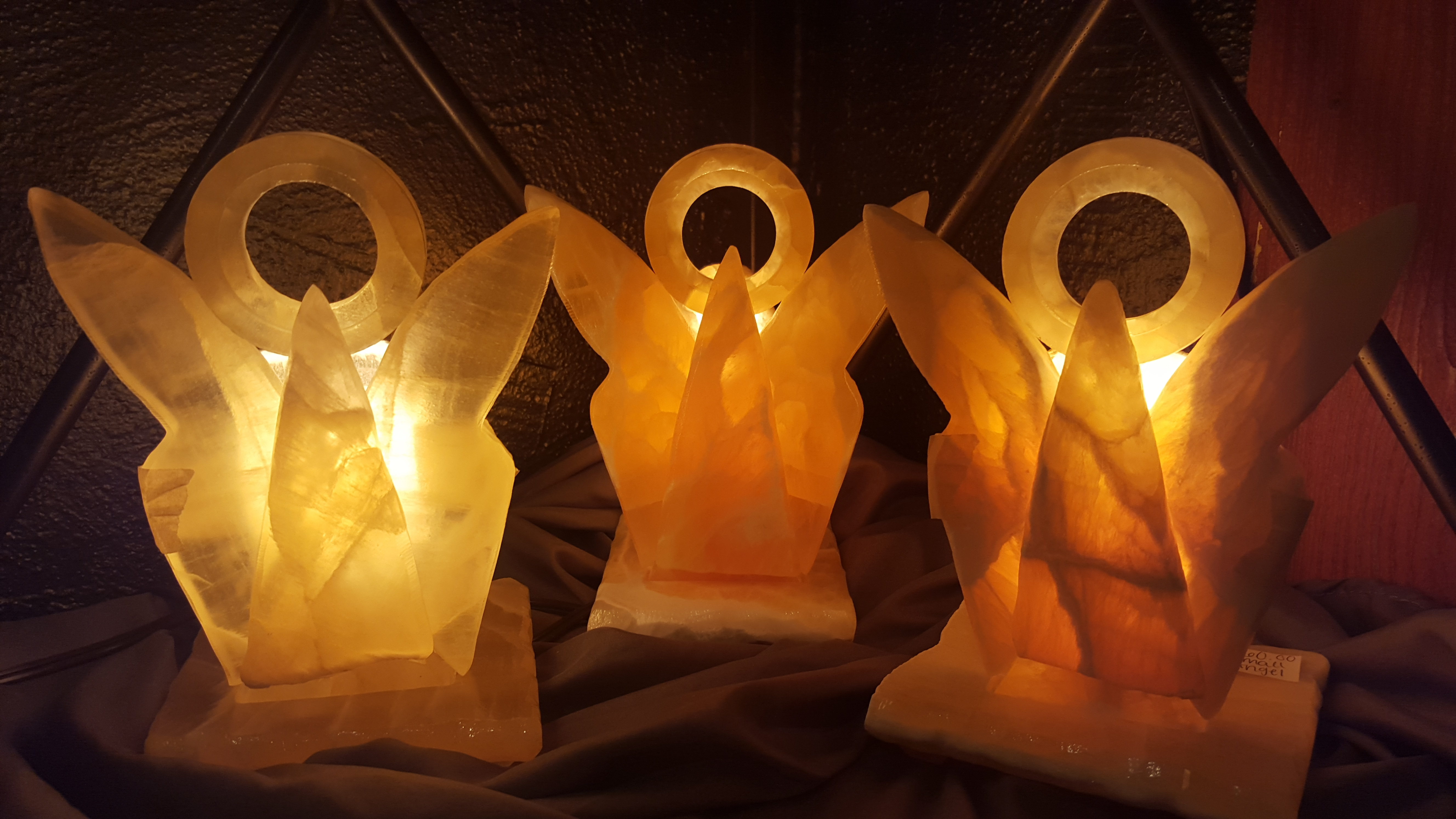 """6"""" Honeycomb calcite angels with attached electric light base - makes great night light!"""